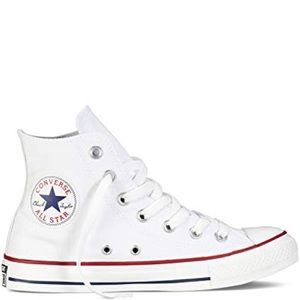 Worn white Converse high tops